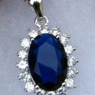Blue & White CZ Royal Princess Diana Kate Pendant