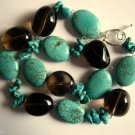 Genuine Turquoise and Smoky Quartz Necklace