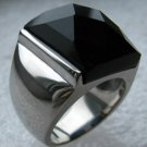 Black Onyx Stainless Steel Ring 7+ Carats Size 9