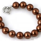 "Brown Mother of Pearl Bracelet 8"" with 10mm Beads"