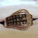 .25 CT Brown Diamond Ring - Buckle Design Size 9