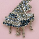 Silver Tone Blue Crystal Grand Piano Pin Brooch
