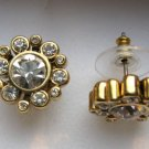Betsey Johnson Goldtone Round Clear Crystal Earrings