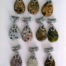 Ocean Jasper Gemstone Teardrop Pendants