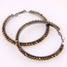 Chocolate Brown Crystal Hoop Earrings