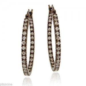 Chocolate Brown Rhodium Over .925 Silver CZ Oval Hoop Earrings Inside/Out
