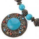 Faux Turquoise & Coral Vintage Medalion & Wood Necklace