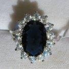 Sapphire Blue & White CZ Royal Engagement Ring Sz 6-9