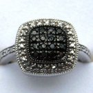 .20 CT Genuine Black Diamond Sterling Silver Cocktail Ring Cushion Shape