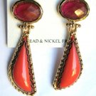 "Coral & Deep Pink Color Acrylic Dangle Earrings 2"" Long"