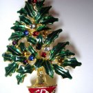 Christmas Tree Pin Brooch with Crystals