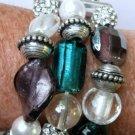 Angela D'Marco Venetian Glass & Crystal Metal Bracelet