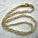 Italy Sterling Silver & 14k Gold Braided Necklace 24""