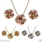 Sterling Silver Love Knot Earrings and Necklace Set - Silver, Rose or Gold Color