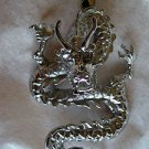"Stainless Steel Dragon Chinese Zodiac Sign Pendant Large 2.5"" long x 1.5"" wide"