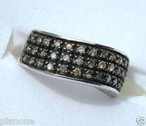 .50 CT Champagne Brown Color Diamond Wave Ring Sterling Silver