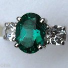 3-Stone Anniversary 1.62ct Oval Created Emerald & Sapphire Sterling Silver Ring