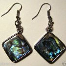 "Paua Abalone Shell Dangle Earrings 2"" Irridescent Blue Green Tan Light Refract"