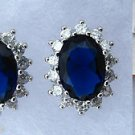 Royal Blue Diana Sapphire & White Cubic Zirconia Ring, Earrings & Necklace Jewelry Set
