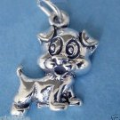 "Sterling Silver 925 Puppy Dog Charm .78"" x .47"""