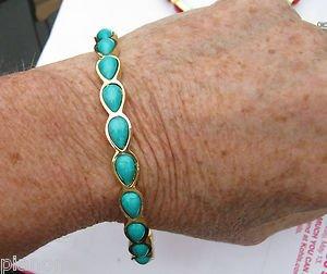 Amrita Singh 18KGP 'Jacosta'  Teardrop Bangle Bracelet Turquoise Color Sz7