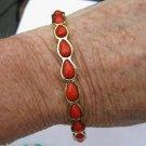 Amrita Singh 18KGP 'Jacosta'  Teardrop Bangle Bracelet Coral Haze Color Sz6