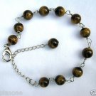 "Brown Tiger Eye & Sterling Silver 8""-10"" Tin Cup Style Anklet"