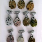 "Ocean Jasper Gemstone Teardrop Pendants 1.8"" Long Multiple Colors to Select From"