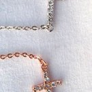 Sterling Silver Sideways Cross Pendant Necklace w/Cubic Zirconia Silver or Rose Gold Pl
