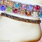 "2-Row Multicolor Crystal Rhinestone Stretch Rainbow Ankle Bracelet 9""-14"" Sexy"