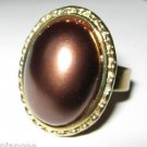 Amrita Singh Montauk Chocolate Brown Color Faux Pearl Ring 18kgp Adjustable Size