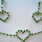 "Emerald Green Crystal Heart 12-14"" Necklace and Green Crystal Heart Earrings Set"