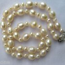"Handmade White/Ivory Rice Pearl & Seed Pearl Necklace 18"" Sterling Silver Clasp"