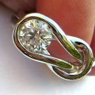 2.10 Ct White Cubic Zirconia Sterling Silver Love Knot Ring - Select your Size