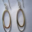 Two-Tone Sterling Silver and 14k Double Oval Hoop Drop Dangle Earrings