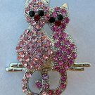 Cat Pin Brooch Silver Tone with Pink Crystals Two Cats Sitting on a Branch 1.5""