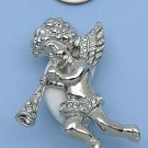 Silver Crystal Angel with Wings Playing Trumpet Pin Brooch White Crystals