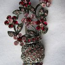 "Silver Tone Pink Crystal Flower Bouquet Pin Brooch 1.75"" Long"