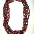 4-Strand Wine Red Cultured Pearl Sterling Silver Necklace 18""