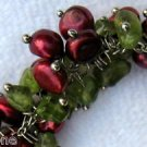 "8"" Red Wine Color Cultured Pearl & Green Peridot Bead Silver Tone Bracelet"