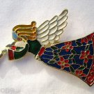 Christmas Angel with Wings Playing Trumpet Pin Brooch Gold Green Red White