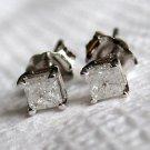 1/3 Ct Princess Cut 14K White Gold Diamond Stud Earrings