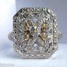 Vintage Inspired 14k & .925 Silver Diamond Ring Sz 6