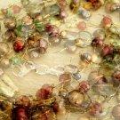 Gold or Silvertone Oval Link Charm Bracelet Rhinestone Studded Heart Dangle