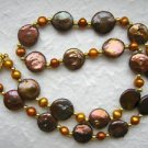"18"" Designer Chocolate Freshwater Coin Pearl Necklace"