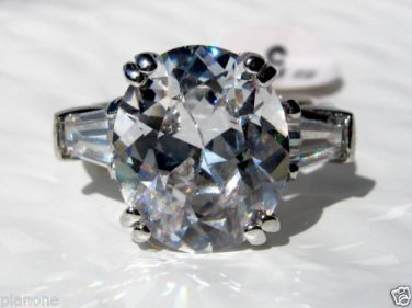 9+ Carat Clear Cubic Zirconia Engagement Ring Oval Shape Sterling Silver .925
