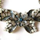 Vintage Design Goldtone Antiqued Rhinestone & Pearl Butterfly Pendant Necklace