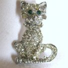Silver Tone Clear Crystal Cat Pin Brooch w/Green Eyes