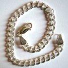 """Italian Sterling Silver Charm Link Bracelet 8"""""""