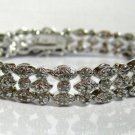3-Row 1.00 Ct Diamond Tennis Bracelet Sterling Silver .925 Marquise Design